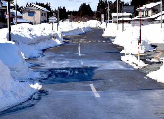 日本海側雪道